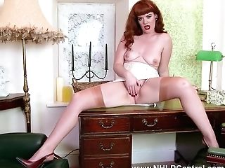 Red-haired Madam Zoe Page Plays Game Of Taunt And Disrobe With Gardener Showcasing Off Nyloned Gams And Beautiful Nude Trimmed Coochie