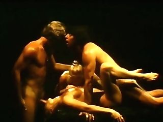 Sweaty Antique Threesome In Bdsm Area