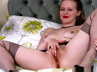 Blonde Office Cockslut Playing Fuckbox In Stilettos Retro Nylons