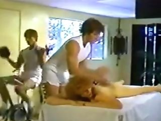 Table Rubdown Turns Into Double Penetration Threesome
