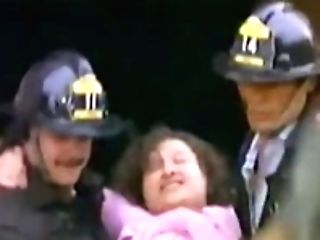 Fat Lady Carries A Swooned Firefighter Over Her Shoulder (antique Comedy)